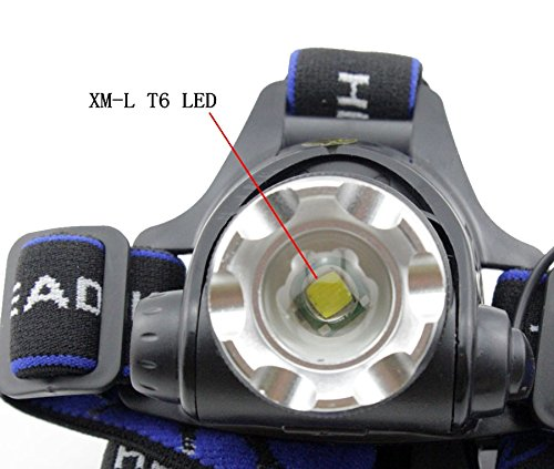 LED Headlamp Super Bright Waterproof - Genwiss Head Lamp 5000Lm XML T6 Headlight Flashlight Light Zoomable Adjustable Focus for Camping Biking Working Hunting Fishing Riding Walking 4 AA Batteries