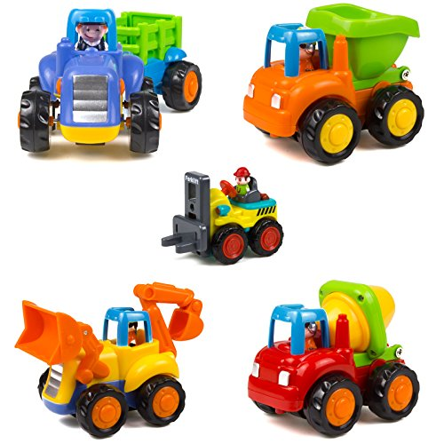 Woby Push and Go Friction Powered Car Toys Set Tractor Bulldozer Mixer Truck and Dumper for Baby Toddlers]()