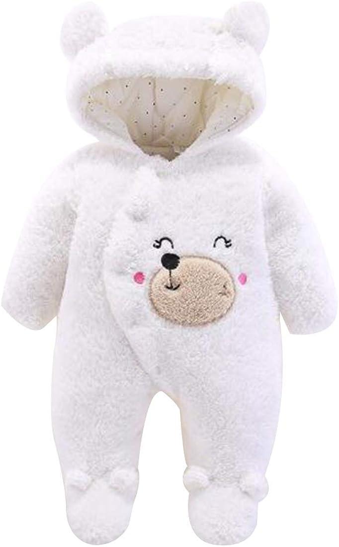 Aiweijia Cute Newborn Baby Unisex Winter One-Piece Hooded Romper Jumpsuits Coat