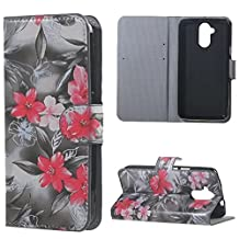 Liquid Z410 Case, Candy House Acer Liquid Z410 Case Elegant Lily Pattern Horizontal Wallet Case Magnetic Closure Flip Cover