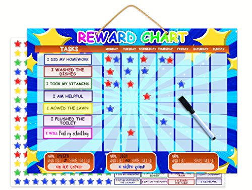 Tiny Loops (Magnetic Reward Chart | Dry Erase Children's Chore And Task Planner | Encourage Good Behavior and Responsibility | Thick Buttons For Tiny Fingers | Hanging Loop And Printable Colouring Sheets)