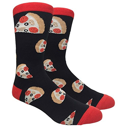 Urban Peacock Men's Novelty Fun Dress Socks (Multiple Patterns to Select From) (Pizza Slices - Black with Red, 1 - Pie Sausage