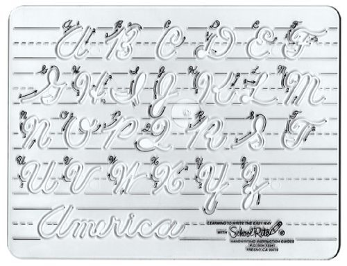 Standard Cursive Alphabet (School-Rite Cursive Handwritting Template, Writing Aide Alphabet Lettering Guide and Stencil, Cursive - Uppercase)
