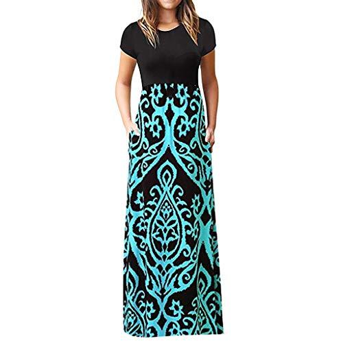 iBOXO Women's Summer Elegant Bohemian Print High Waist Short Sleeve Maxi Dress with -