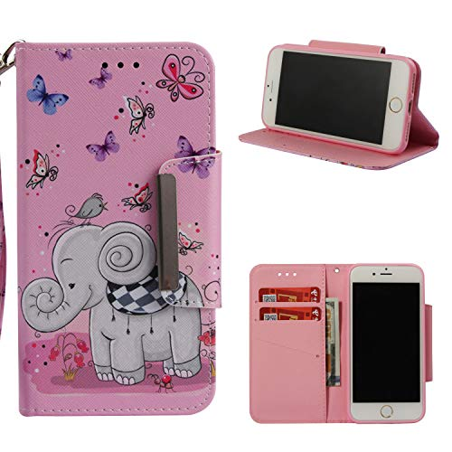 Leather Wallet Case for iPhone 8/iPhone 7,Shinyzone Cute Cartoon Butterfly and Elephant Painted Pattern Flip Stand Case,Wristlet & Metal Magnetic Closure Protective Cover by Shinyzone