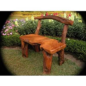 Natural tree trunk wood bench garden for Benches that go around trees