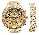 (US) Bold & Powerful Hip Hop Bling! Iced Out Bling Gold Mens Watch w/Ice on Dial and Chrono Look Faux Eyes richly Matched w/Gold Bling Cuban Design Bracelet - 8706B Gold Cuban