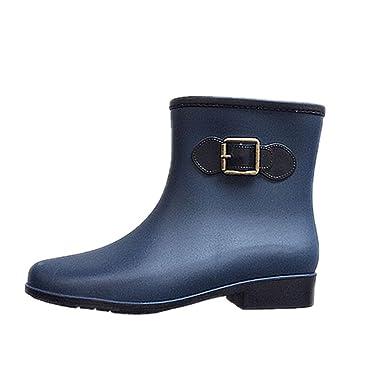Darringls_Zapatos de Invierno Mujer,Botas de Agua Mujer Lluvia Altas Zapato Impermeables Ajustable Cremallera y Hebilla Goma Botas: Amazon.es: Ropa y ...