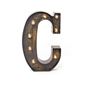 Glintee LED Marquee Letter Lights Vintage Style Light Up 26 Alphabet Letter Signs for Wedding Birthday Party Christmas Home Bar Cafe Initials Decor(C)