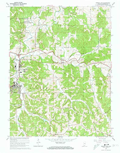 YellowMaps French Lick in topo map, 1:24000 Scale, 7.5 X 7.5 Minute, Historical, 1965, Updated 1966, 26.9 x 21.3 in - Paper
