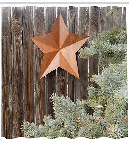 (Ambesonne Primitive Country Decor Shower Curtain, Big Orange Star on Rough Wood Fences Pine Branches Print, Fabric Bathroom Decor Set with Hooks, 84 Inches Extra Long, Orange Green Brown)