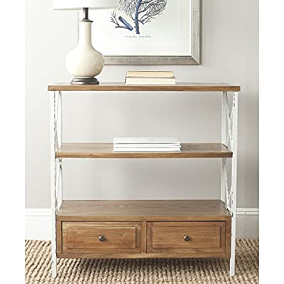 Safavieh American Homes Collection Chandra Pale Blue and White Smoke Console Table - The oak finish of this console table will create a perfect accent to your home Crafted of sturdy elm and pine wood Perfect for a living room, family room, den, library, or study - living-room-furniture, living-room, console-tables - 51tN%2B7SblYL. SS400  -