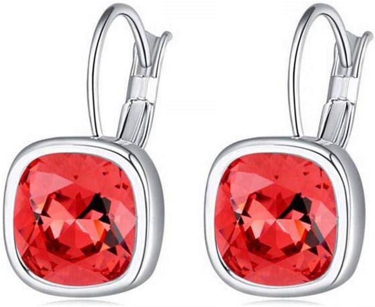 BinLZ Pendientes de Cristal - Fantasía Cuadrada de Cristal de Gama Alta Pendientes Joyería Femenina