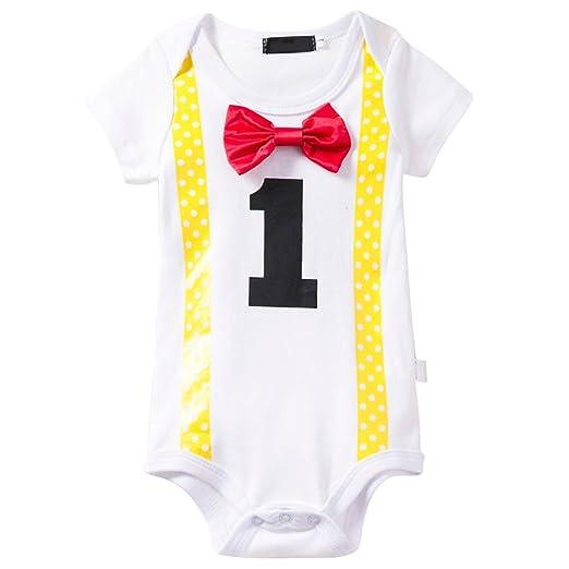 a2c3864ed54b1 Amazon.com: Baby Boy Short Sleeve Onesie First Birthday Party Summer ...