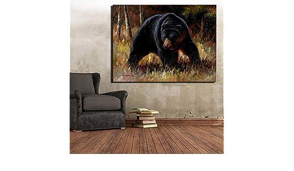 RTCKF Cartel Abstracto de Oso Negro y Pintura Decorativa de ...