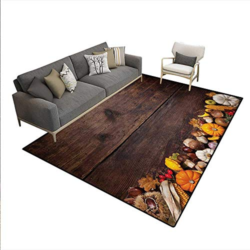 - Floor Mat,Harvest Food on Dark Colored Wooden Table Autumn Vegetables Corn Pumpkin,3D Printing Area Rug,Brown Orange White,6'x7'