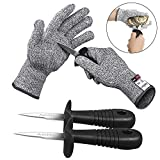 AmHoo Oyster Knife Shucker Cut Resistant Glove Set Level 5 Protection Stainless Steel Clam Shellfish Seafood Opener EN388 Certified Food Grade by (1 pair gloves + 2 knives) (M)