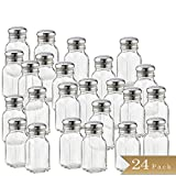 Set of 24 - TrueCraftware 2 Ounce - Classic Square Clear Glass Salt or Pepper Shakers with Stainless Steel Mushroom Tops