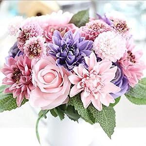 GSD2FF Artificial Flowers Bouquet 10 Head Rose Dahlia Fall Vivid for Wedding Home Party Christmas Decor Silk Flower 35