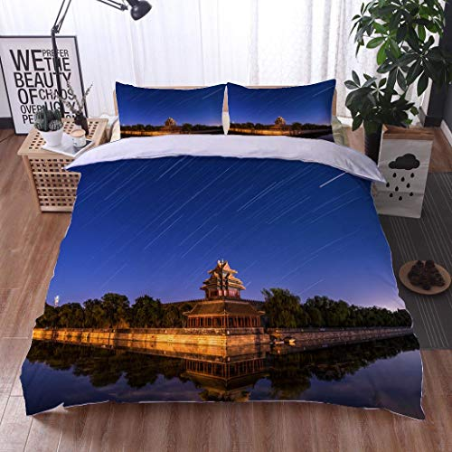 BEISISS Bed Comforter - 3-Piece Duvet -All Season, Beijing Imperial Palace Turret Star Track,HypoallergenicDuvet-MachineWashable -Twin-Full-Queen-King-Home-Hotel -School