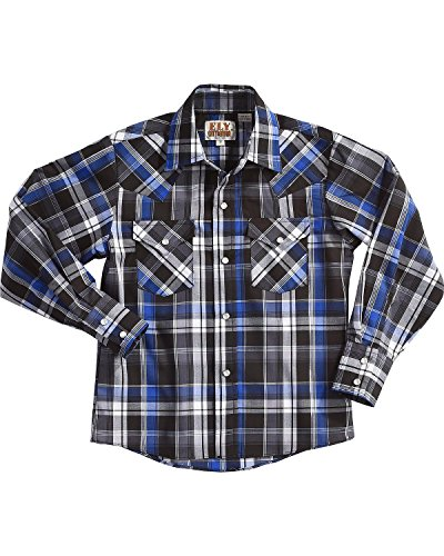 ELY CATTLEMAN Boys' Blue Long Sleeve Lurex Plaid Snap Shirt Indigo Small (Shirt Lurex Plaid)