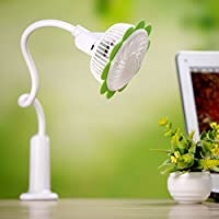 USB & Battery Powered Desk Mini Fan Sunflower Bendable and Rechargeable Personal Table Fan with Clip for Home, Bedroom, Dormitory, Office, Outdoor, with Charging Cord,Adjustable Speed