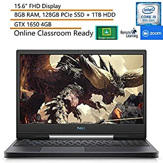 "Dell G5 15.6"" FHD Gaming Laptop, 9th Gen Intel i5-9300H, 8GB DDR4 RAM, 128GB PCIe SSD + 1TB HDD, GTX 1650, Black, Windows 10 + iPuzzle 500GB External HDD, Online Class Ready, Webcam, Microphone"