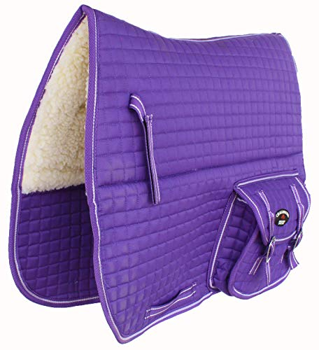 CHALLENGER Horse Quilted English Saddle PAD Pockets Dressage Aussie Australian Purple 7276