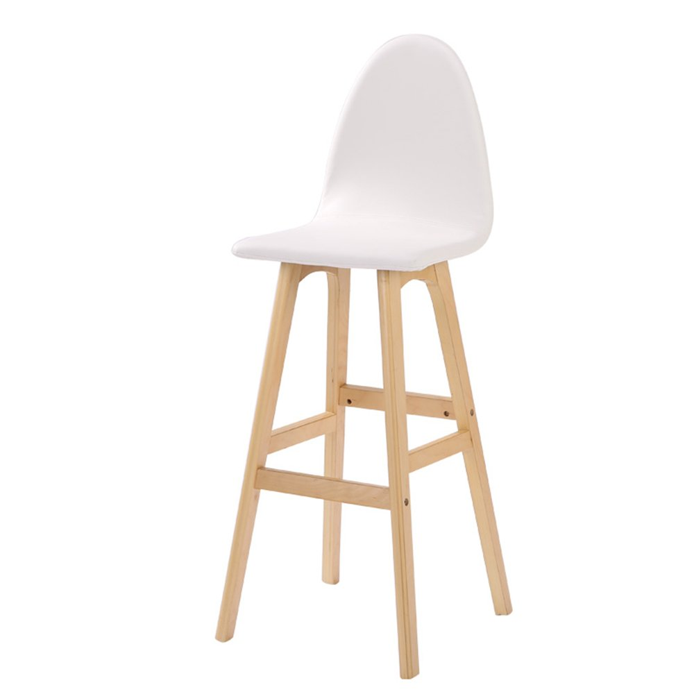 龙飞@ クリエイティブハイバックチェア、ヨーロッパの木製のバーの椅子、ファッションバーのスツール、シンプルなハイスツール、ソリッドウッドバーのスツール スツール ( 色 : 白 ) B077MZRK75 白 白