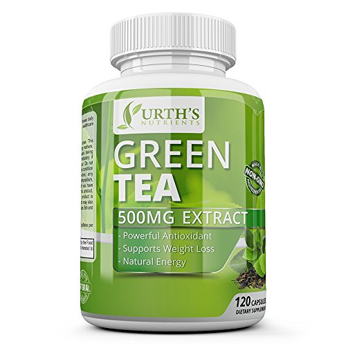 #1 Green Tea Extract Supplement with EGCG - Natural Healthy Weight Loss Support - Natural Caffeine Source for Energy & Metabolism Booster Promotes a Healthy Heart - Antioxidants NON-GMO 120 Capsules