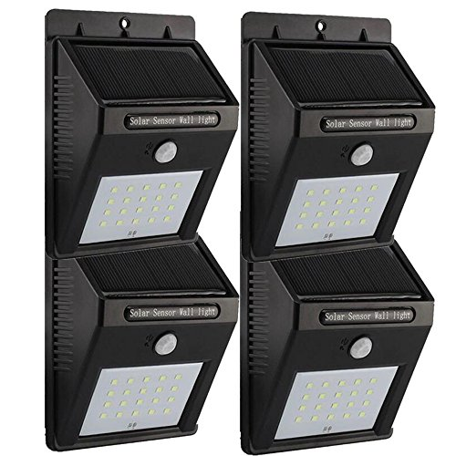TFBOYS Solar Power Lights Outdoor Lighting Wireless Waterproof 20 LED Security Motion Sensor Lights 3 Intelligent Modes Night Lighting for Outdoor Wall Garden Lawn Patio Yard Driveway Stairs (4 Pack)