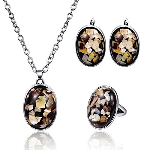 LUYUAN JEWELRY Personalized Hawaii Broken Shell Chips Crystal Coverd Pendant Boho Fashion Jewelry Set - Ring#9
