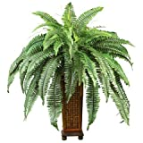 Exclusive By Nearly Natural Boston Fern w/Decorative Wood Vase Silk Plant