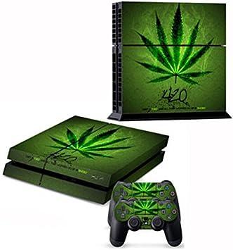 Marihuana cannabis carcasa Skin Decal Sticker para PS4 Playstation 4 Consola Controlador: Amazon.es: Electrónica
