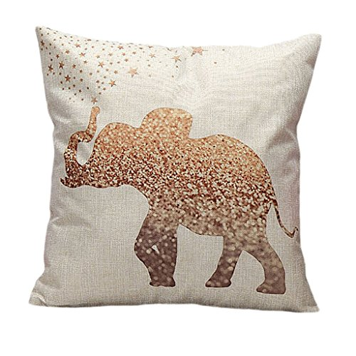 Linen Throw Pillow Cover with a Gold Elephant Print
