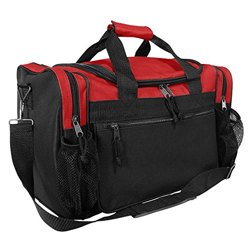 """DALIX 17"""" Duffle Travel Bag with Dual Front Mesh Pockets in Red"""