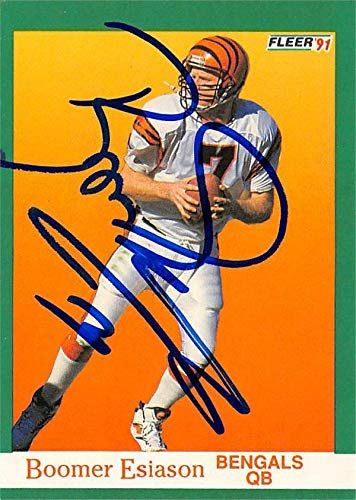 Boomer Esiason autographed Football Card (Cincinnati Bengals) 1991 Fleer #19 - NFL Autographed Football Cards