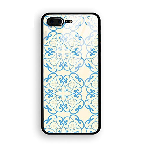 iPhone 8 Plus Case,Tempered Glass Case Soft TPU Bumper Geometric Decorative Pattern Phone Case Compatible for iPhone 8 Plus