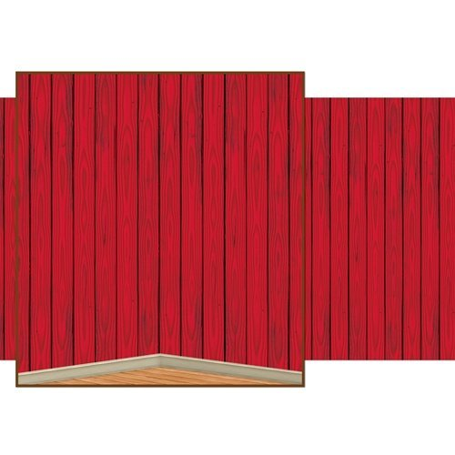 Beistle 52057 Barn Siding Backdrop in Red - Pack of -