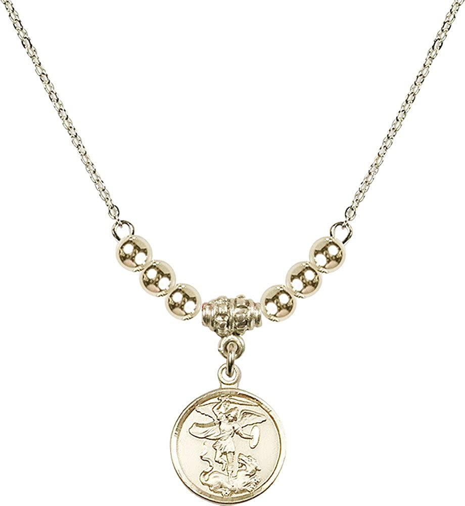 18-Inch Hamilton Gold Plated Necklace with 4mm Gold Filled Beads and Gold Filled Saint Michael the Archangel Charm.