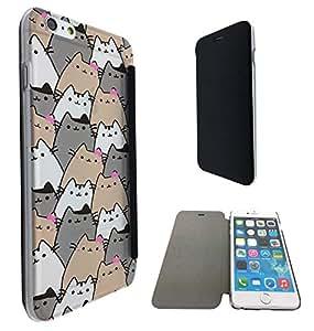 586 - Sketch Cool Multi Cats Fun Design iphone 6 6S 4.7'' Fashion Trend Funky Smart Clear Plastic & TPU Flip Case Full Cover Purse Pouch Defender Book Case