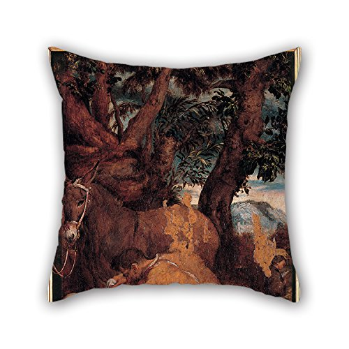 KooNicee Oil Painting Jacopo Bassano - The Good Samaritan Christmas Pillow Covers 16 X 16 Inches / 40 By 40 Cm Best Choice For Chair Sofa Teens Girls Home Father Deck Chair With 2 Sides