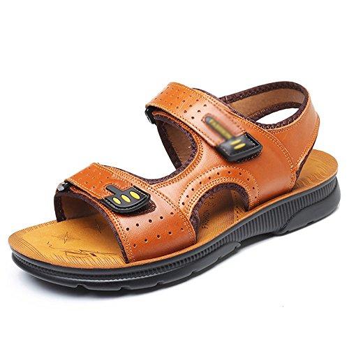 Sandals MAZHONG Men's Summer Velcro PU Leisure Men's Beach Shoes PU Thick-soled Non-slip (Color : Yellow- EU43/UK9/CN44) Yellow- Eu43/Uk9/Cn44 nTJIyiVc