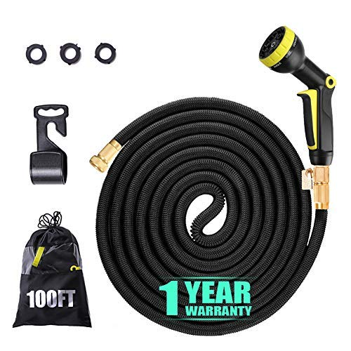 YJHY Garden Hose 100ft, Kink Free Flexible Hose Leakproof Expandable Hose with Solid Brass Connector and 9 Patterns Nozzle Outdoor Hose for Pets Bathing and Window Floor Washing (Black)