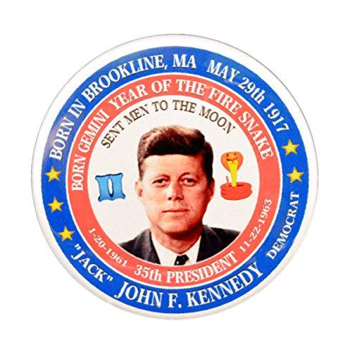 John F. Kennedy (Gemini Fire Snake) 35th President Pin-Back Button (3