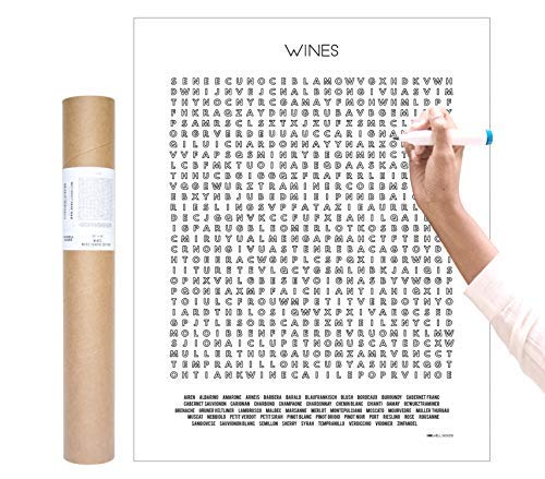 - Inkwell Goods 50 Wine Types Coloring Checklist Word Search Wall Art Poster | Activity Print | Home Decor Wall Art | Wine Lover Gift | Made in USA 16 x 20 inches