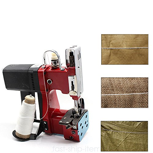 ONEPACK Portable Sewing Machine 110V 6mm Industrial Home Red Electric Bag Stitching Closer for Woven Snakeskin Bag Sack ()