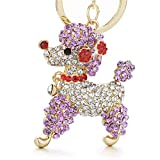 Kuwoolf Lovely Poodle Dog Bowknot Crystal Keychains Keyrings For Car Women Alloy Purse Bag Key Chain Ring Holder-Purple