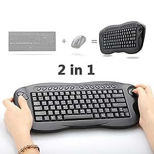 wireless trackball keyboard oley 2 4 ghz 2in1 wireless mouse keyboard computer tv. Black Bedroom Furniture Sets. Home Design Ideas