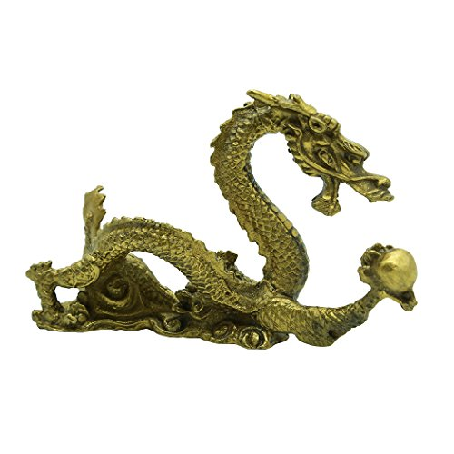 Brass Fortune Dragon Sculpture Home Decoration Collection Gift